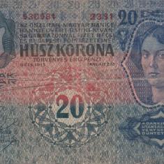 AUSTRIA/UNGARIA 20 kronen/korona 1913 F+!!! - bancnota europa