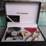 Set ceas cadou cu cravata eleganta- NY London -7 piese (cod:821) - Ceas barbatesc, Casual, Quartz, Inox, Piele ecologica
