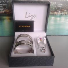 Set ceas cu bijuterii dama- NY LONDON - Lize Collection -4 piese (cod:835) - Set bijuterii placate cu aur Energie