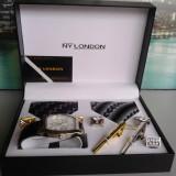 Set ceas cadou cu cravata eleganta- NY London -7 piese (cod:820) - Ceas barbatesc, Casual, Quartz, Inox, Piele ecologica