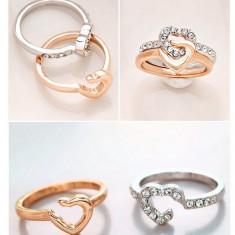 Superb inel 9K GOLD FILLED format din 2 inele - inima . Marimea 6.5 - Inel placate cu aur