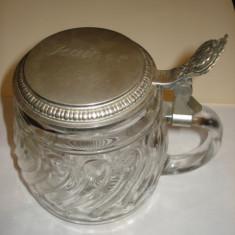 Halba din sticla sau cristal cu capac, Cristal/Sticla