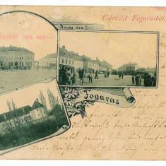 2861 - Litho, FAGARAS, multi vue - old postcard - used - 1898 - Carte Postala Transilvania pana la 1904, Circulata, Printata