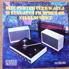 Disc pentru verificarea si reglarea picupurilor stereofonice disc single vinyl - Muzica soundtrack electrecord, VINIL