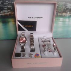 Set ceas cu bijuterii dama- NY LONDON - Diamond Collection -6 piese (cod:837) - Set bijuterii placate cu aur