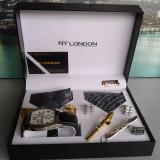Set ceas cadou cu cravata eleganta- NY London -7 piese (cod:827) - Ceas barbatesc, Casual, Quartz, Inox, Piele ecologica