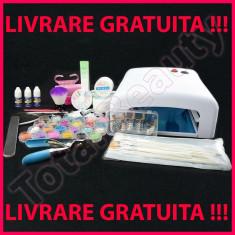 Kit unghii false cu lampa UV si geluri constructie accesorii nail-art 15 pensule