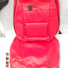Huse scaune auto imitatie piele rosie complet - Husa scaun auto