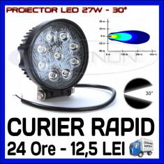 PROIECTOR LED ROTUND 12V, 24V - OFFROAD, SUV, UTILAJE - 27W DISPERSIE 30 GRADE