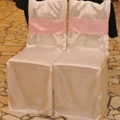 Huse scaune saten albe sala ornat nunta botez