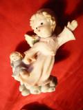 Bibelou - Ingeras cu papusa -portelan ,vechi ,h=7,8cm