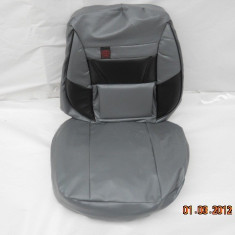 Huse scaune auto imitatie gri cu negru - Husa scaun auto