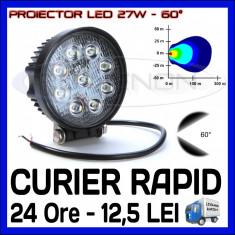 PROIECTOR LED ROTUND 12V, 24V - OFFROAD, SUV, UTILAJE - 27W DISPERSIE 60 GRADE