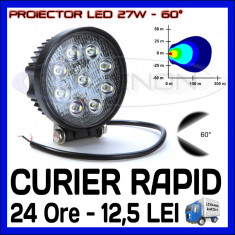 PROIECTOR LED ROTUND 12V, 24V - OFFROAD, SUV, UTILAJE - 27W DISPERSIE 60 GRADE - Proiectoare tuning ZDM