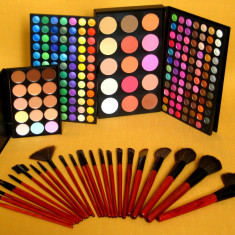 Trusa machiaj Mac Cosmetics farduri MAC 183 culori 24 pensule fond de ten corector concealer !