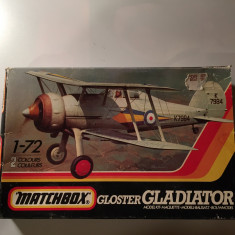 Macheta avion biplan GLOSTER GLADIATOR PK-8 Model Kit by MATCHBOX (Original!!!) - Macheta Aeromodel Matchbox, 1:72