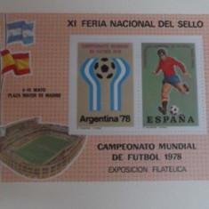 SPANIA 1978 – CM FOTBAL ARGENTINA, bloc nestampilat (2), F100 - Timbre straine