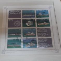 ELVETIA 1978 - VAPOARE, bloc cu STAMPILA EXPOZITIEI AF27 - Timbre straine, Transporturi, Stampilat