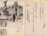 Salutari din Targu Jiu (Gorj)-Statuia Tudor Vladimirescu, Gimnaziul-clasica,rara, Circulata, Printata