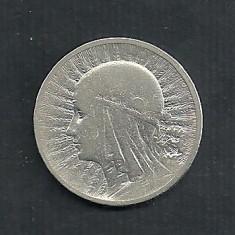 POLONIA 2 ZLOTI ZLOTE 1933, Ag 4.28 g [4] Regina Jadwiga, Livrare in cartonas, Europa, Argint