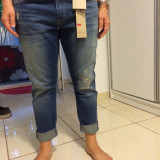 Blugi dama Levis Boyfriend Skinny Fit Originali, 32, Lungi, Albastru