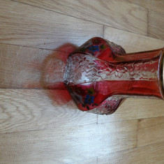Vaza din sticla pictata, vintage - Vaza sticla