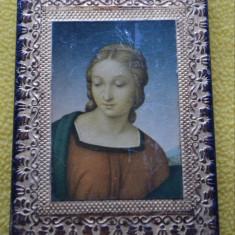 Icoana veche rama sculptata / Icoana ITALY / Icoana Fecioara Maria