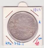 MONEDA DIN ARGINT FRANTA - 5 FRANCS (FRANCI) 1849, LIT. A, A FOST AGATATA