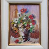 Vaza cu flori - semnat  S.Dobrica