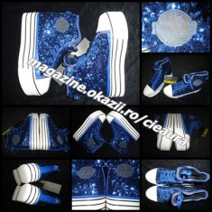 SNEAKERS BASCHETI ALBASTRI DAMA PLATFORMA firma TUMINA TALPA TRIPLA PAIETE TMN - Ghete dama, Culoare: Albastru, Negru, Marime: 38, 39, Textil