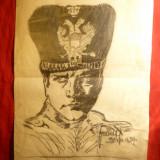 Portret in creion, 1929 - Ofiter din Garda Vieneza, semnat Jeaulf sau Jeanef - Tablou autor neidentificat