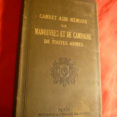 E.C. Servo -Aide Memoire -Manevre Campanie-uzul dif. arme -Ed.1880 ,in lb. fr.