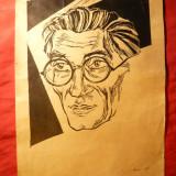 Caricatura - Panait Istrati, semnat Skano 1969 - tus, format A4 - Pictor roman
