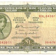 IRLANDA 1 LIRA POUND 1976 F - bancnota europa