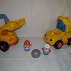 Fisher Price - Little People - Constructor - buldozer si o basculanta cu sunete - Masinuta