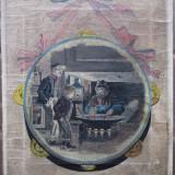 Medalion, Vanzatorul de castane ? - semnat T.Kennts - Pictor roman
