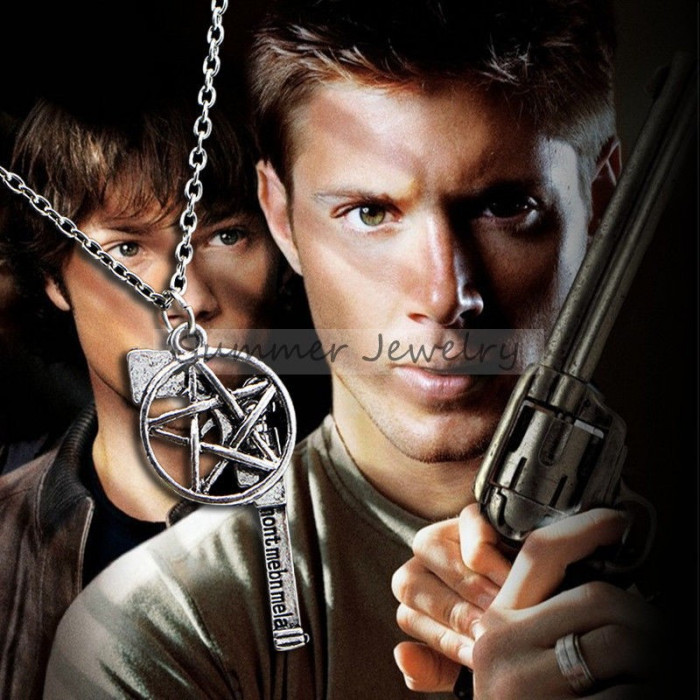 Pandantiv / Colier / Lantisor / Medalion - SUPERNATURAL - Pistol + Pentagrama