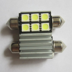 C5W 6 SMD 5050 CANBUS alb-xenon bec led plafoniera numere sofit eroare bec ars - Led auto, Universal