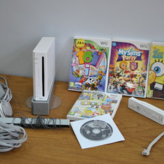 WII 5 JOCURI, NUNCHACK, SENZOR SI CABLURI - Nintendo Wii