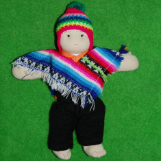 Papusa etno / imbracaminte folclorica, traditionala, imbracaminte Peruviana (Peru), papusa din material textil, colectie, jucarie Waldorf, 22 cm - Papusa de colectie
