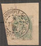 TIMBRE a2-2, FRANTA, LEVANT, 1902-1920, TYPE BLANC, PERFORAT, FRAGMENT DE PLIC, Stampilat