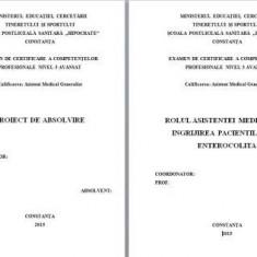 LUCRARE DE LICENTA A.M.G. - ROLUL ASISTENTEI MEDICALE IN INGRIJIREA PACIENTILOR CU ENTEROCOLITA (+ prezentare PP)