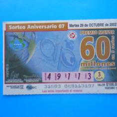HOPCT MEXIC BILET LOTO / LOTERIE - Bilet Loterie Numismatica