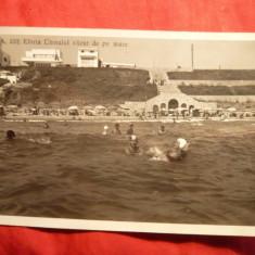 Ilustrata - Eforie - Vedere dinspre mare a Litoralului, circulat 1943, cenzurata - Carte Postala Dobrogea dupa 1918