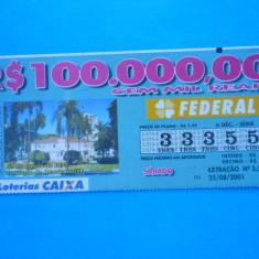 HOPCT BRAZILIA BILET LOTO / LOTERIE - Bilet Loterie Numismatica