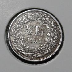 Moneda argint 1/2 Franci - 1955