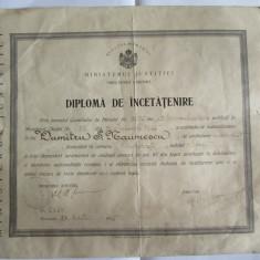 RARA! DIPLOMA DE INCETATENIRE DIN 1935 - Diploma/Certificat