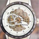 Ceas Luxury Elegant WINNER MECANIC Skeleton EXCLUSIVE FULL Automatic Alb Negru - Ceas barbatesc, Lux - sport, Mecanic-Automatic, Inox, Piele ecologica, Tahimetru