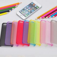 Husa Ultra Slim iPhone 5/5S 0. 3mm 7 culori Transparenta Neagra Mov Albastra Roz Rosie Verde | husa iphone ultraslim | CEL MAI MIC PRET GARANTAT - Husa Telefon Apple, Plastic, Fara snur