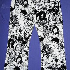 Pantaloni dama din bumbac alb cu imprimeu negru foarte frumos, Marime: 44, Culoare: Din imagine